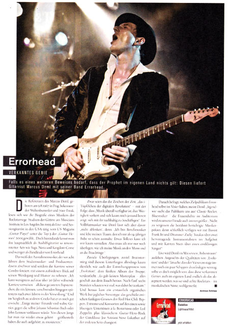 Errorhead Feature in Piranha Magazin 5/2014